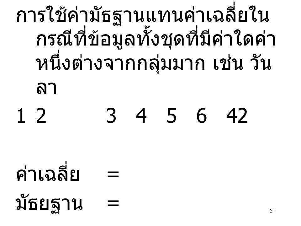 21 การใช้ค่ามัธฐานแทนค่าเฉลี่ยใน กรณีที่ข้อมูลทั้งชุดที่มีค่าใดค่า หนึ่งต่างจากกลุ่มมาก เช่น วัน ลา 12345642 ค่าเฉลี่ย = มัธยฐาน =