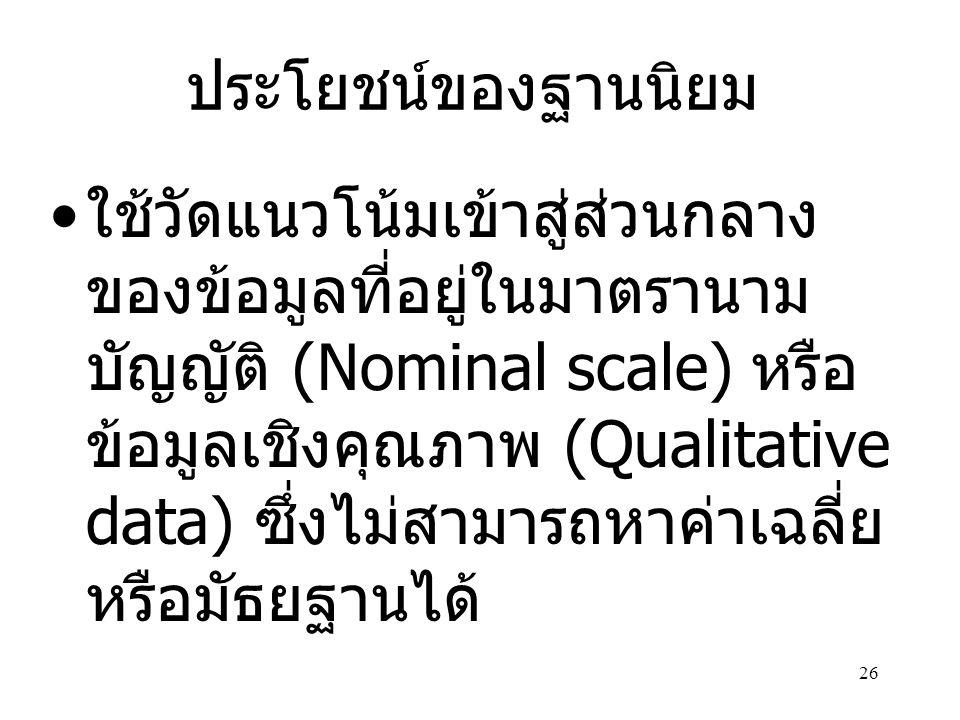 26 ประโยชน์ของฐานนิยม • ใช้วัดแนวโน้มเข้าสู่ส่วนกลาง ของข้อมูลที่อยู่ในมาตรานาม บัญญัติ (Nominal scale) หรือ ข้อมูลเชิงคุณภาพ (Qualitative data) ซึ่งไม่สามารถหาค่าเฉลี่ย หรือมัธยฐานได้