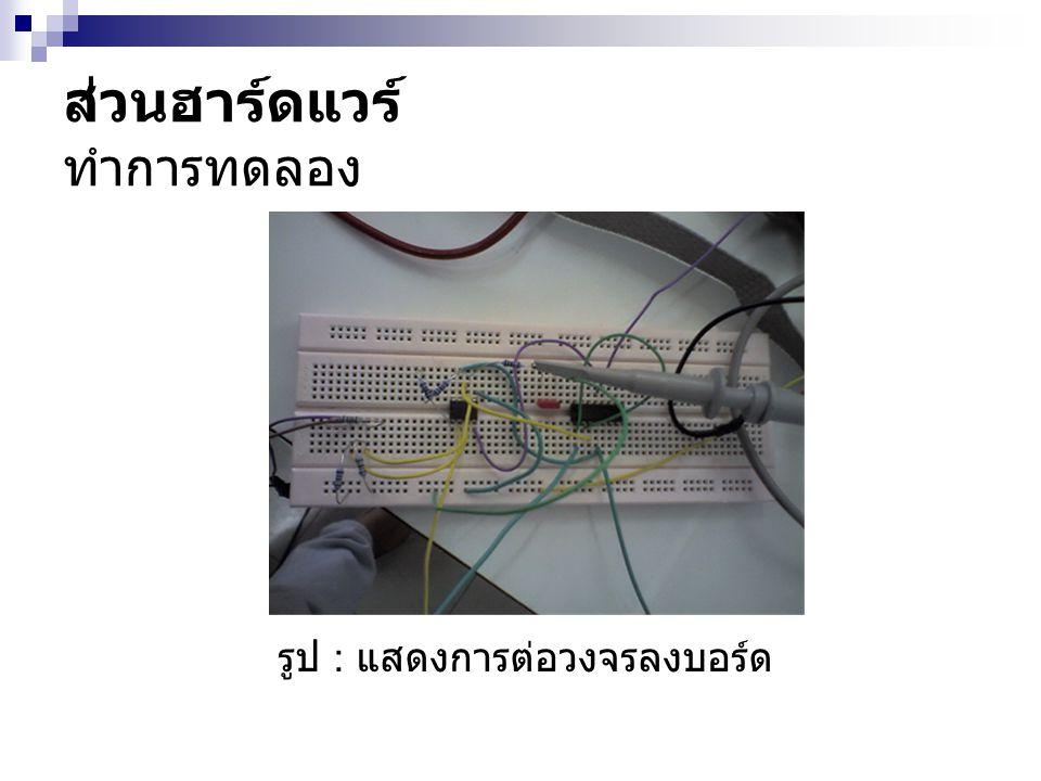 ส่วนฮาร์ดแวร์ ทำการทดลอง รูป : แสดงการต่อวงจรลงบอร์ด