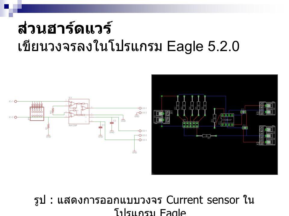 รูป : แสดงการออกแบบวงจร Current sensor ใน โปรแกรม Eagle ส่วนฮาร์ดแวร์ เขียนวงจรลงในโปรแกรม Eagle 5.2.0