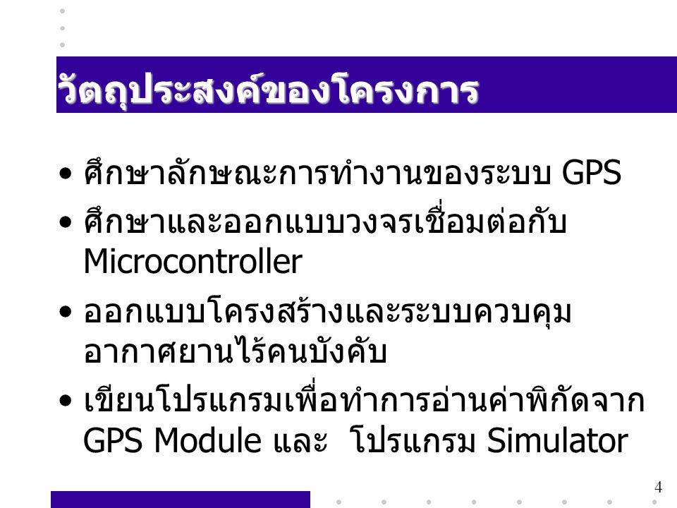 4 วัตถุประสงค์ของโครงการ • ศึกษาลักษณะการทำงานของระบบ GPS • ศึกษาและออกแบบวงจรเชื่อมต่อกับ Microcontroller • ออกแบบโครงสร้างและระบบควบคุม อากาศยานไร้ค