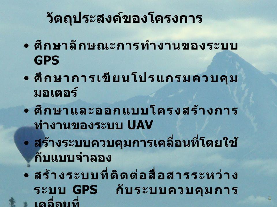 วัตถุประสงค์ของโครงการ • ศึกษาลักษณะการทำงานของระบบ GPS • ศึกษาการเขียนโปรแกรมควบคุม มอเตอร์ • ศึกษาและออกแบบโครงสร้างการ ทำงานของระบบ UAV • สร้างระบบ