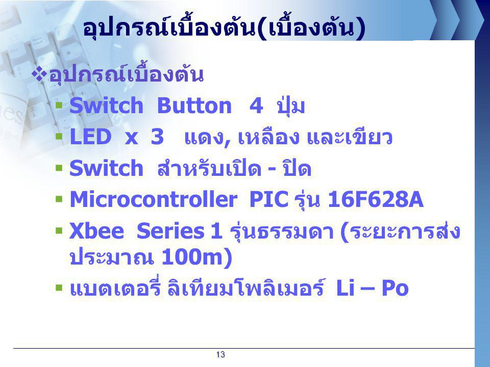อุปกรณ์เบื้องต้น ( เบื้องต้น )  อุปกรณ์เบื้องต้น  Switch Button 4 ปุ่ม  LED x 3 แดง, เหลือง และเขียว  Switch สำหรับเปิด - ปิด  Microcontroller PI