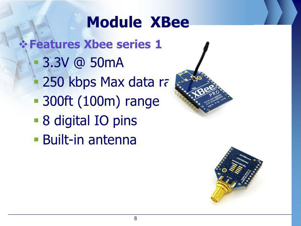 Module XBee  Features Xbee series 1  3.3V @ 50mA  250 kbps Max data rate  300ft (100m) range  8 digital IO pins  Built-in antenna 8