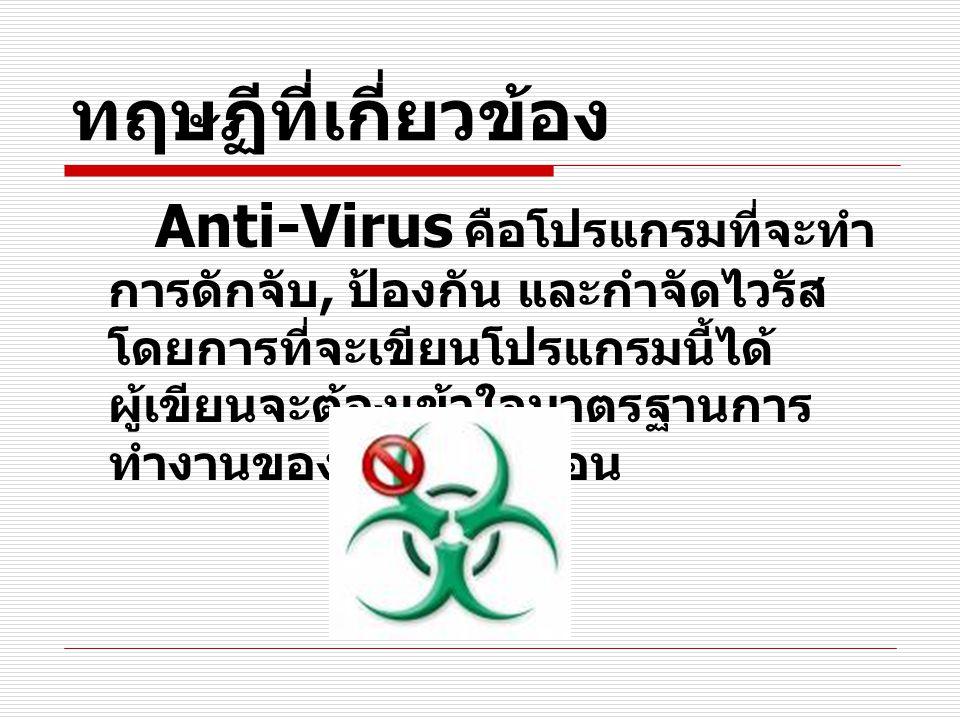 ทฤษฏีที่เกี่ยวข้อง Anti-Virus คือโปรแกรมที่จะทำ การดักจับ, ป้องกัน และกำจัดไวรัส โดยการที่จะเขียนโปรแกรมนี้ได้ ผู้เขียนจะต้องเข้าใจมาตรฐานการ ทำงานของ