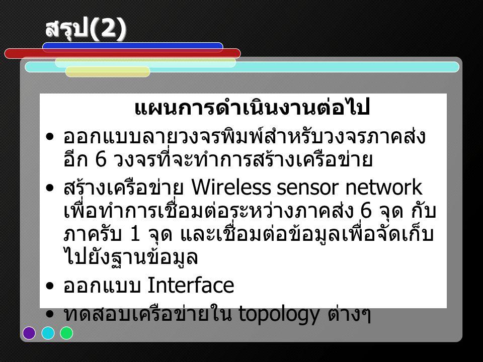 สรุป (2) แผนการดำเนินงานต่อไป • ออกแบบลายวงจรพิมพ์สำหรับวงจรภาคส่ง อีก 6 วงจรที่จะทำการสร้างเครือข่าย • สร้างเครือข่าย Wireless sensor network เพื่อทำ