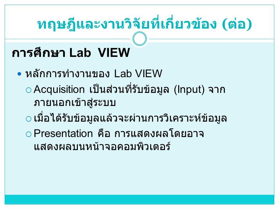  หลักการทำงานของ Lab VIEW  Acquisition เป็นส่วนที่รับข้อมูล (Input) จาก ภายนอกเข้าสู่ระบบ  เมื่อได้รับข้อมูลแล้วจะผ่านการวิเคราะห์ข้อมูล  Presentation คือ การแสดงผลโดยอาจ แสดงผลบนหน้าจอคอมพิวเตอร์ การศึกษา Lab VIEW ทฤษฎีและงานวิจัยที่เกี่ยวข้อง ( ต่อ )
