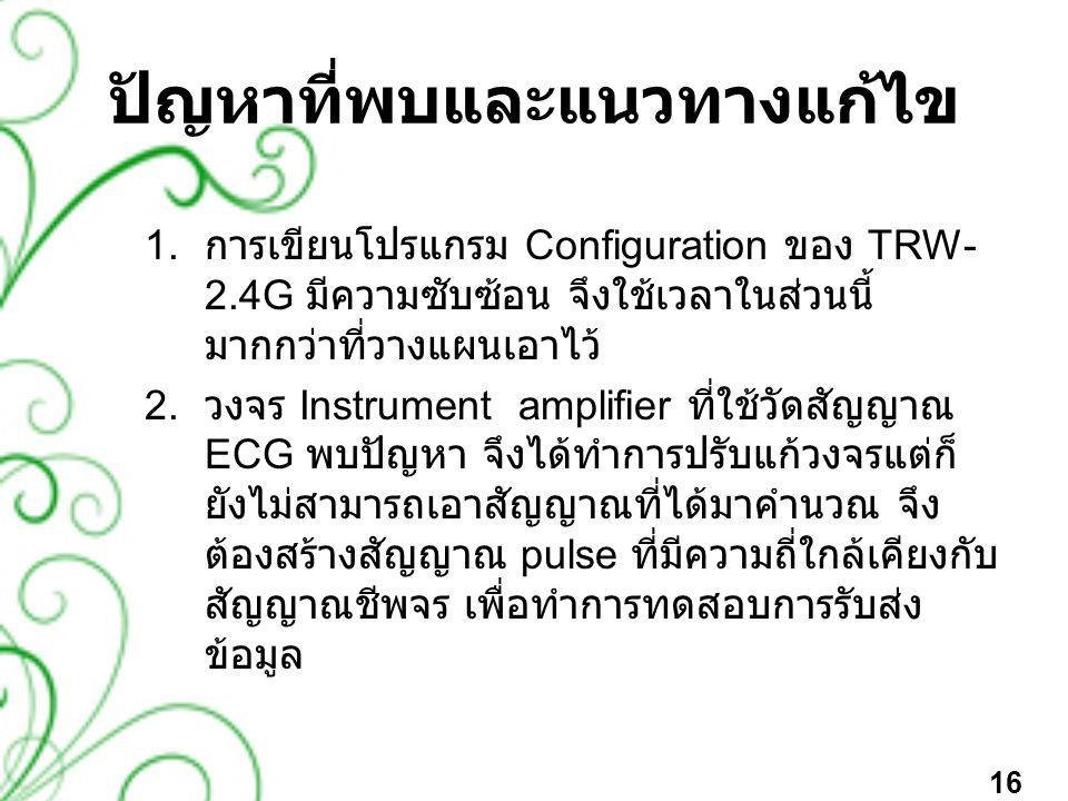 ปัญหาที่พบและแนวทางแก้ไข 1. การเขียนโปรแกรม Configuration ของ TRW- 2.4G มีความซับซ้อน จึงใช้เวลาในส่วนนี้ มากกว่าที่วางแผนเอาไว้ 2. วงจร Instrument am