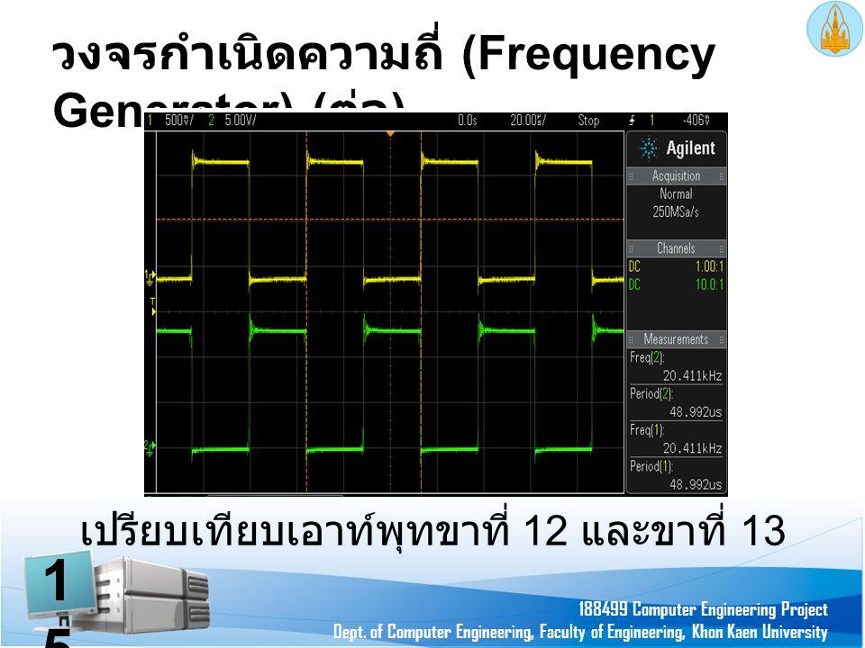 วงจรกำเนิดความถี่ (Frequency Generator) ( ต่อ ) 188499 Computer Engineering Project Dept. of Computer Engineering, Faculty of Engineering, Khon Kaen U