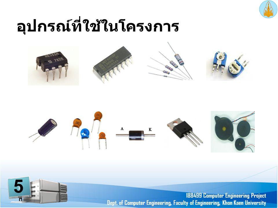 อุปกรณ์ที่ใช้ในโครงการ 188499 Computer Engineering Project Dept. of Computer Engineering, Faculty of Engineering, Khon Kaen University 5