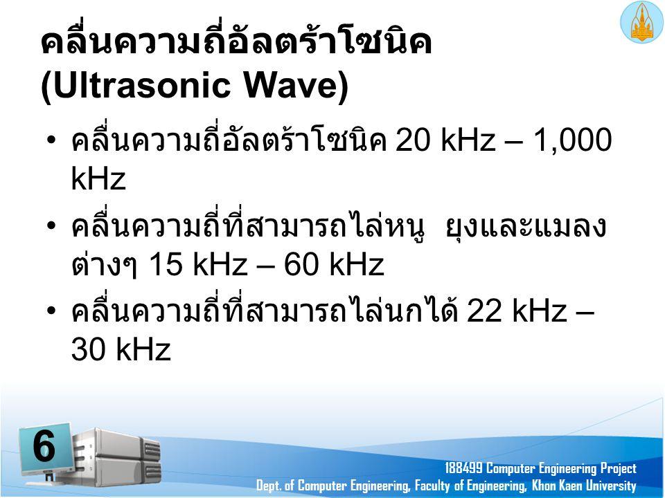 คลื่นความถี่อัลตร้าโซนิค (Ultrasonic Wave) • คลื่นความถี่อัลตร้าโซนิค 20 kHz – 1,000 kHz • คลื่นความถี่ที่สามารถไล่หนู ยุงและแมลง ต่างๆ 15 kHz – 60 kH
