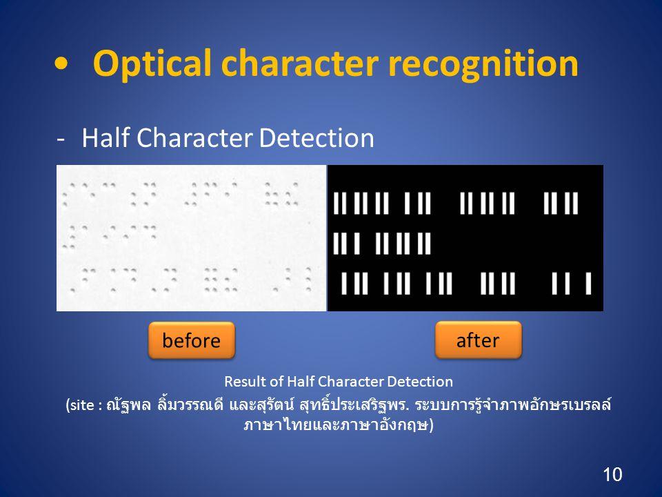 •Optical character recognition -Half Character Detection Result of Half Character Detection (site : ณัฐพล ลิ้มวรรณดี และสุรัตน์ สุทธิ์ประเสริฐพร.