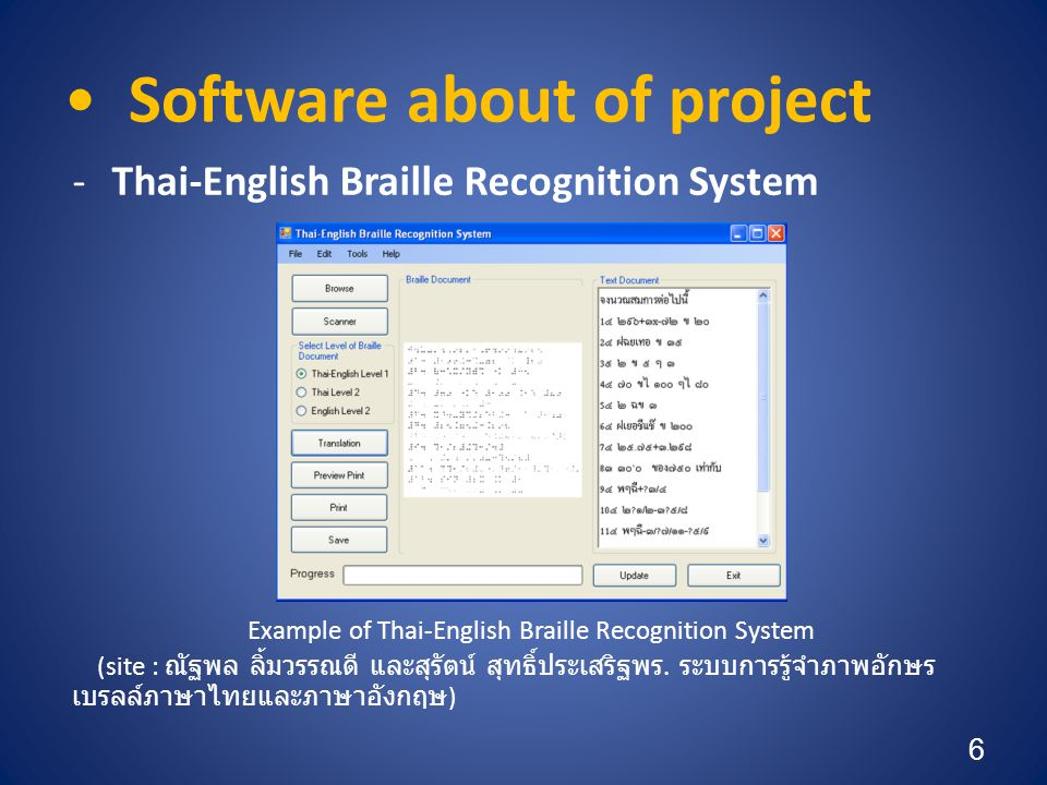 • Software about of project (cont.) -Thai Braille OCR Example of Thai Braille OCR (site : นัฐพร เคนาราช และปิยเนตร อินทยารักษ์.