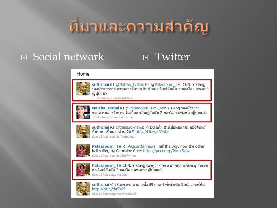  รวบรวมข่าวที่ซ้ำจากการถูกอ้างอิงถึงโดยหลายคน และหลายครั้งให้เป็นการนำเสนอในข่าวเดียว  เพื่อได้ระบบที่แสดงข้อความที่ถูกจัดอันดับให้แก่ผู้ใช้ ทางช่องทางต่าง ๆ  Twitter Account  Webpage  E-mail  พัฒนา ระบบเพื่อเรียกใช้ Twitter API ในการ ประมวลผลข้อความทวีตโดยอัตโนมัติ