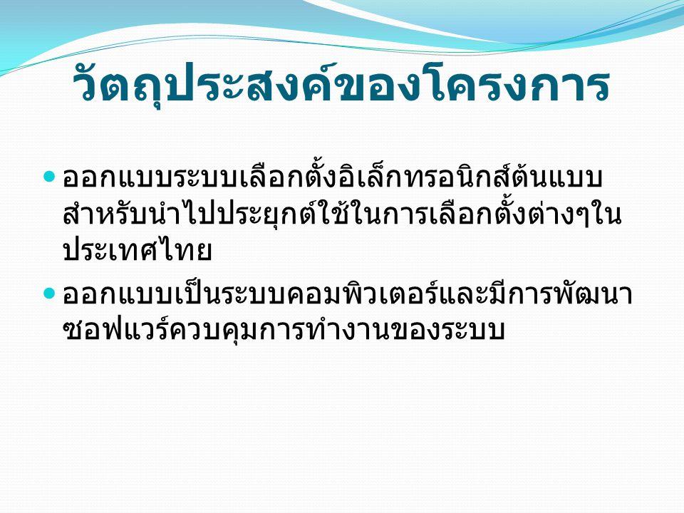 วัตถุประสงค์ของโครงการ  ออกแบบระบบเลือกตั้งอิเล็กทรอนิกส์ต้นแบบ สำหรับนำไปประยุกต์ใช้ในการเลือกตั้งต่างๆใน ประเทศไทย  ออกแบบเป็นระบบคอมพิวเตอร์และมี