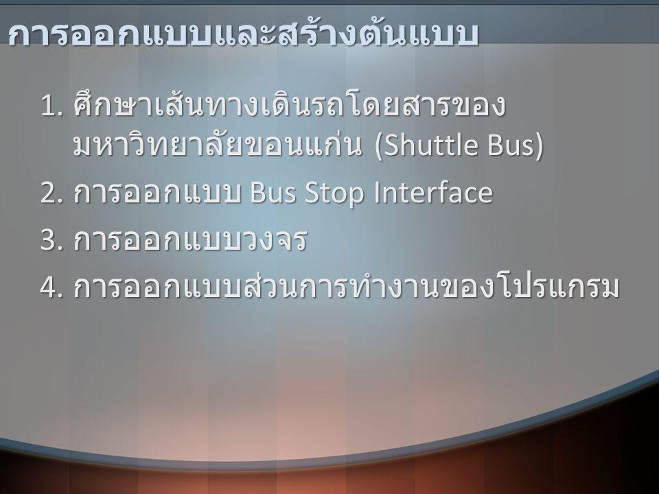 การออกแบบและสร้างต้นแบบ 1. ศึกษาเส้นทางเดินรถโดยสารของ มหาวิทยาลัยขอนแก่น (Shuttle Bus) 2. การออกแบบ Bus Stop Interface 3. การออกแบบวงจร 4. การออกแบบส