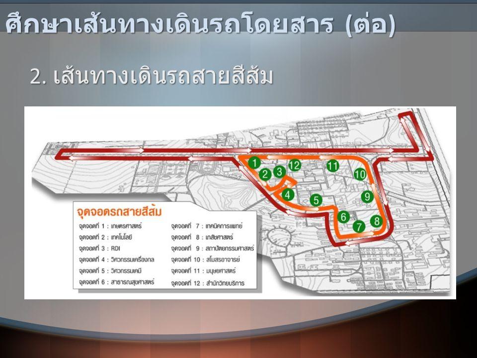 ศึกษาเส้นทางเดินรถโดยสาร ( ต่อ ) 2. เส้นทางเดินรถสายสีส้ม