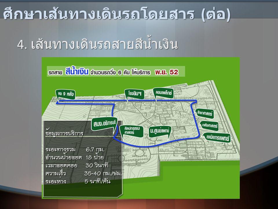 ศึกษาเส้นทางเดินรถโดยสาร ( ต่อ ) 4. เส้นทางเดินรถสายสีน้ำเงิน
