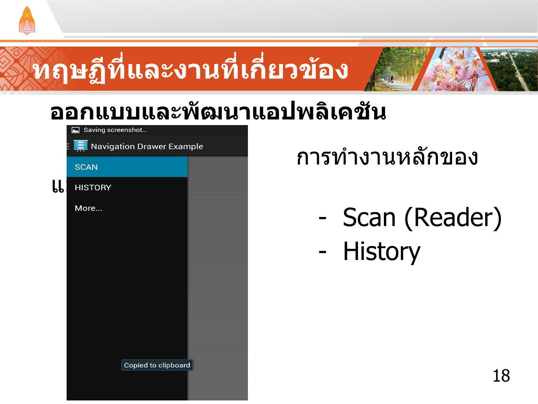 ทฤษฏีที่และงานที่เกี่ยวข้อง ออกแบบและพัฒนาแอปพลิเคชัน การทำงานหลักของ แอปพลิเคชัน - Scan (Reader) - History 18
