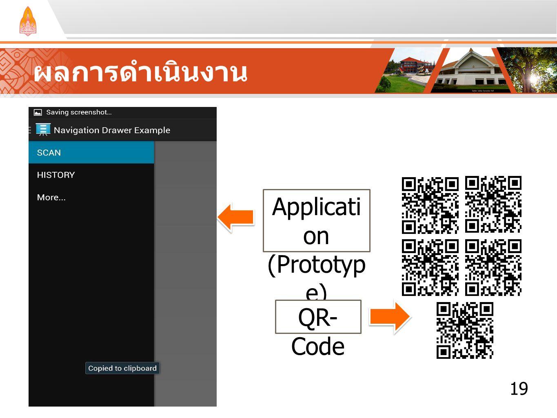 19 ผลการดำเนินงาน Applicati on (Prototyp e) QR- Code