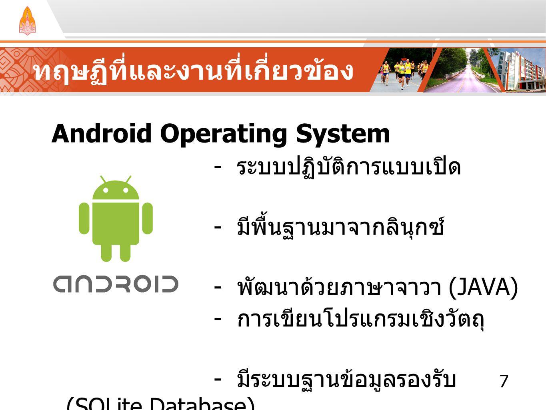 ทฤษฏีที่และงานที่เกี่ยวข้อง Android Operating System - ระบบปฏิบัติการแบบเปิด - มีพื้นฐานมาจากลินุกซ์ (LINUX) - พัฒนาด้วยภาษาจาวา (JAVA) - การเขียนโปรแ