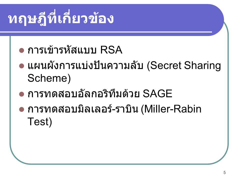 ทฤษฎีที่เกี่ยวข้อง  การเข้ารหัสแบบ RSA  แผนผังการแบ่งปันความลับ (Secret Sharing Scheme)  การทดสอบอัลกอริทึมด้วย SAGE  การทดสอบมิลเลอร์ - ราบิน (Mi