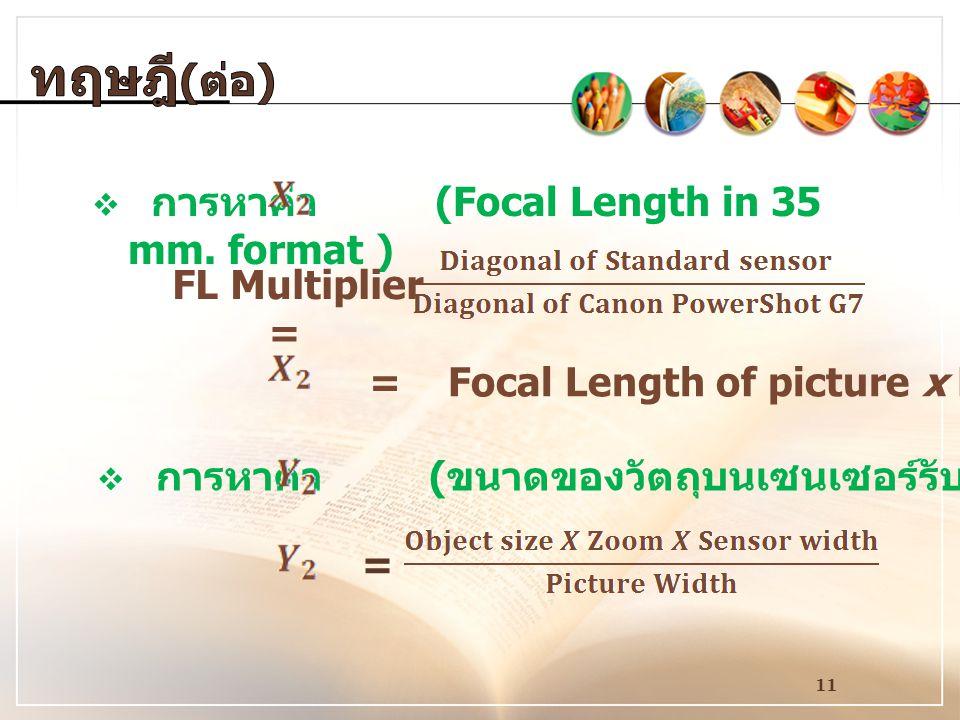 11  การหาค่า (Focal Length in 35 mm.