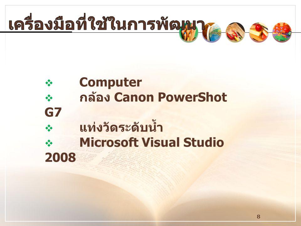 8  Computer  กล้อง Canon PowerShot G7  แท่งวัดระดับน้ำ  Microsoft Visual Studio 2008