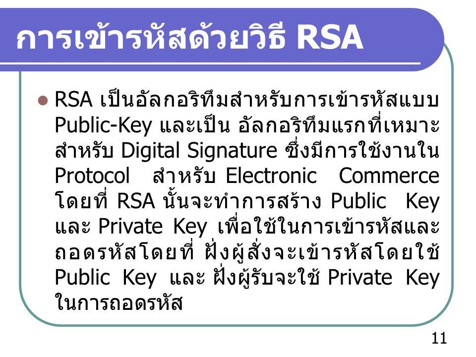 การเข้ารหัสด้วยวิธี RSA  RSA เป็นอัลกอริทึมสำหรับการเข้ารหัสแบบ Public-Key และเป็น อัลกอริทึมแรกที่เหมาะ สำหรับ Digital Signature ซึ่งมีการใช้งานใน P