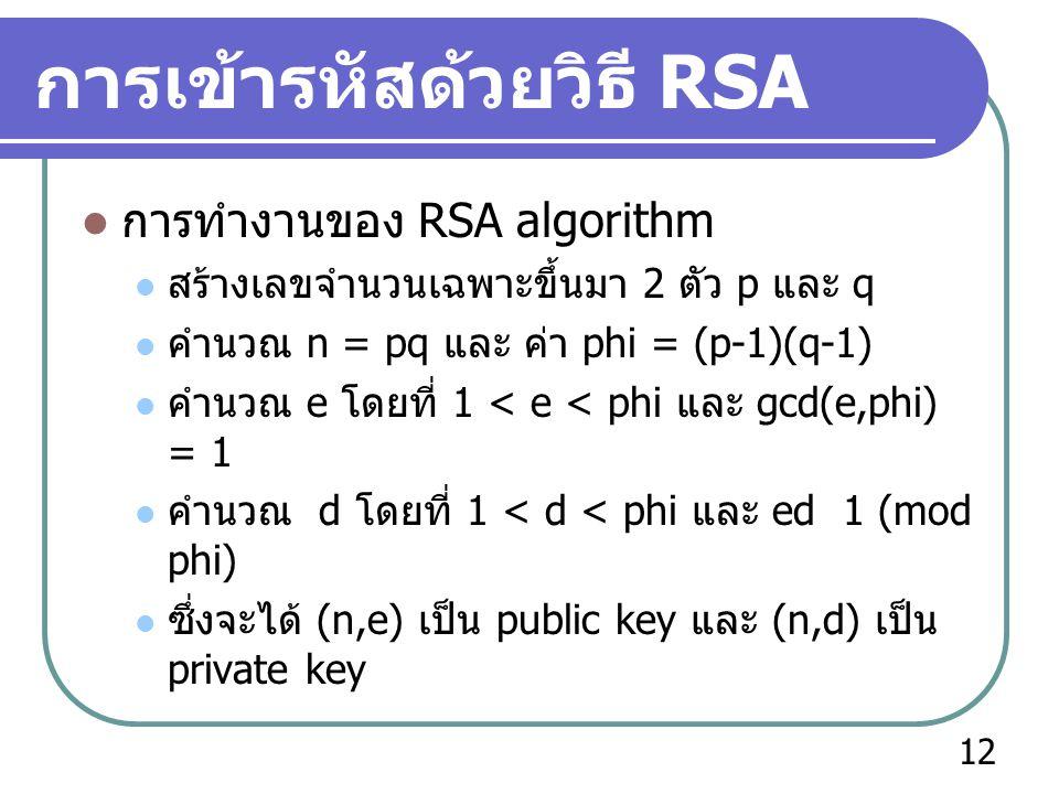 การเข้ารหัสด้วยวิธี RSA  การทำงานของ RSA algorithm  สร้างเลขจำนวนเฉพาะขึ้นมา 2 ตัว p และ q  คำนวณ n = pq และ ค่า phi = (p-1)(q-1)  คำนวณ e โดยที่