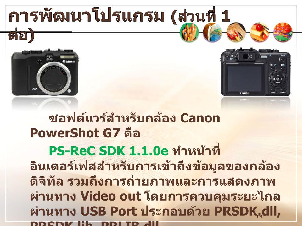 13 ซอฟต์แวร์สำหรับกล้อง Canon PowerShot G7 คือ PS-ReC SDK 1.1.0e ทำหน้าที่ อินเตอร์เฟสสำหรับการเข้าถึงข้อมูลของกล้อง ดิจิทัล รวมถึงการถ่ายภาพและการแสด
