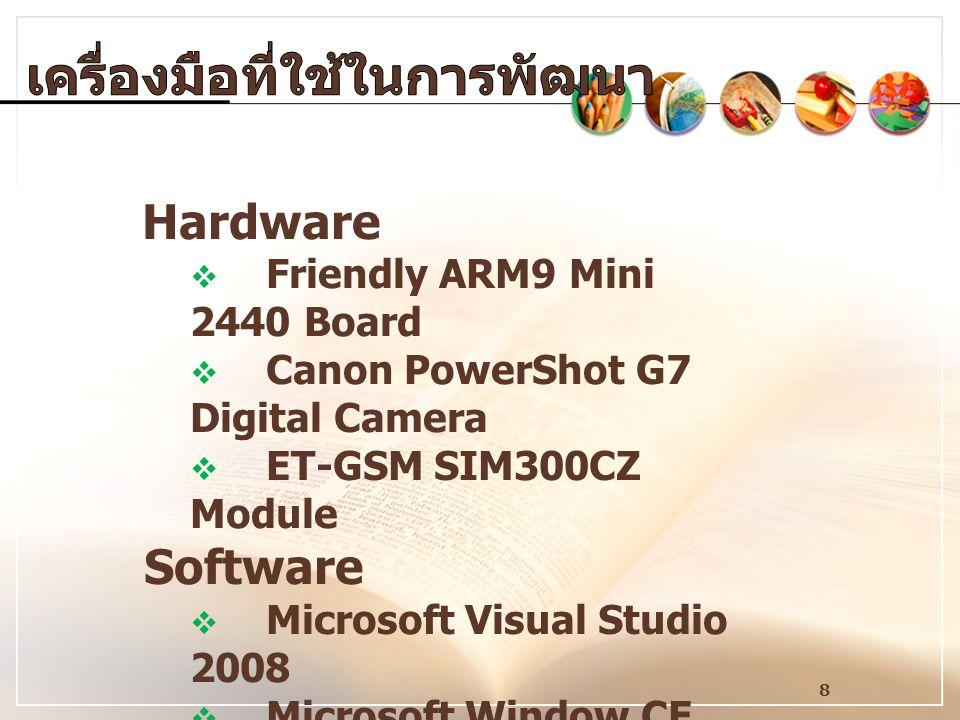 8 Hardware  Friendly ARM9 Mini 2440 Board  Canon PowerShot G7 Digital Camera  ET-GSM SIM300CZ Module Software  Microsoft Visual Studio 2008  Micr