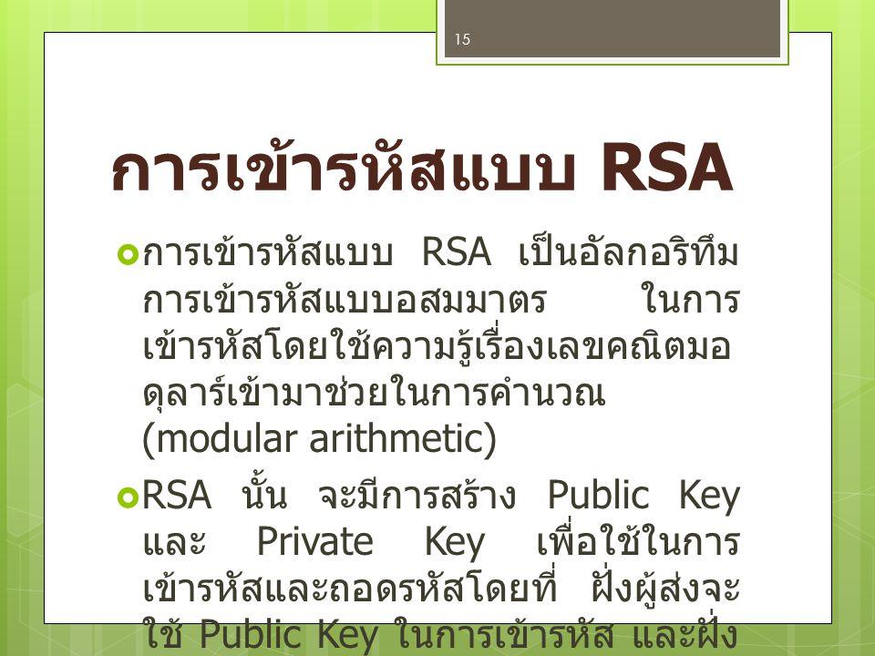 ความปลอดภัยของการ เข้ารหัสแบบ RSA  RSA ถือว่าเป็นระบบ การแบ่งปันความลับที่ มีความปลอดภัยสูง เนื่องจากเป็นปัญหา ทางด้านการแยกตัว ประกอบซึ่งเป็นจำนวน เฉพาะขนาดใหญ่ ดังนั้น จึงเป็นเรื่องยาก ในการถอดรหัสหาก ไม่มีกุญแจ 16