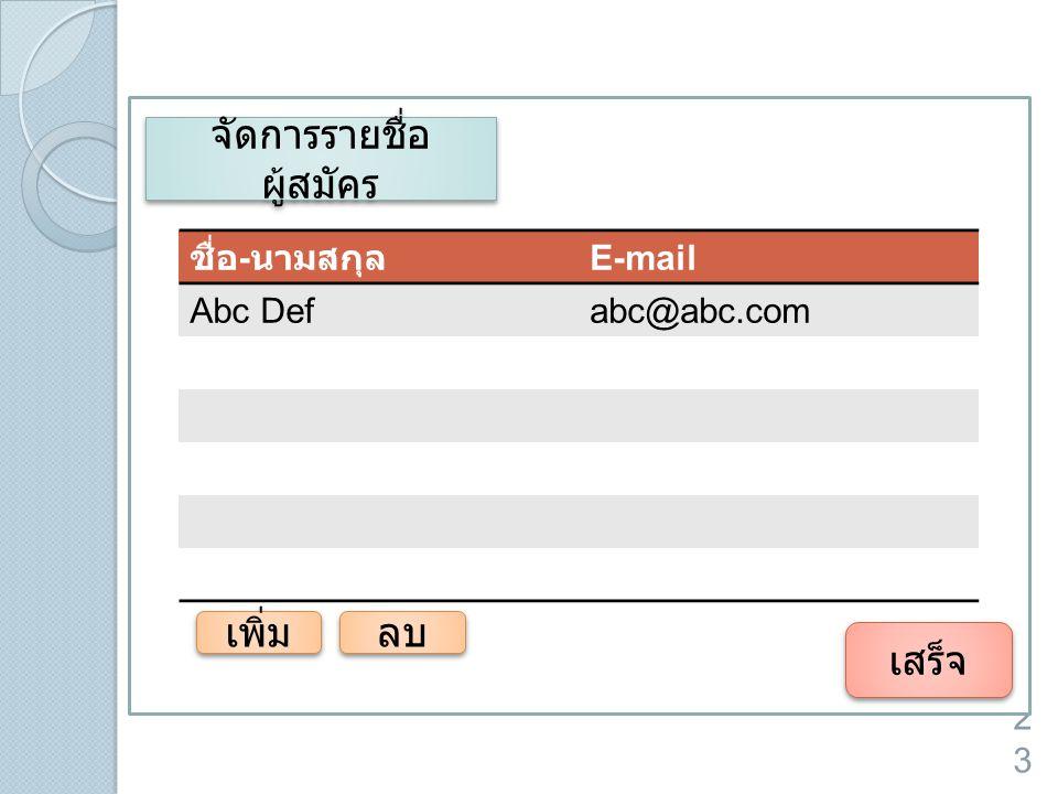 23 จัดการรายชื่อ ผู้สมัคร เสร็จ ชื่อ - นามสกุล E-mail Abc Defabc@abc.com เพิ่ม ลบ