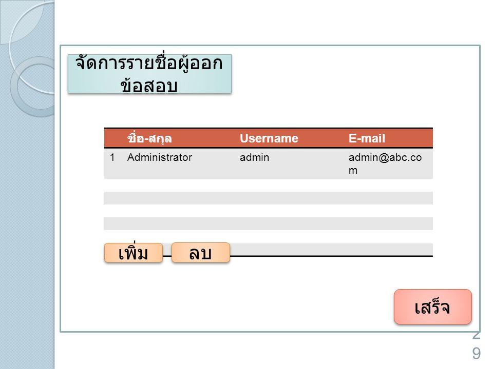 29 เสร็จ จัดการรายชื่อผู้ออก ข้อสอบ ชื่อ - สกุล UsernameE-mail 1Administratoradminadmin@abc.co m เพิ่ม ลบ