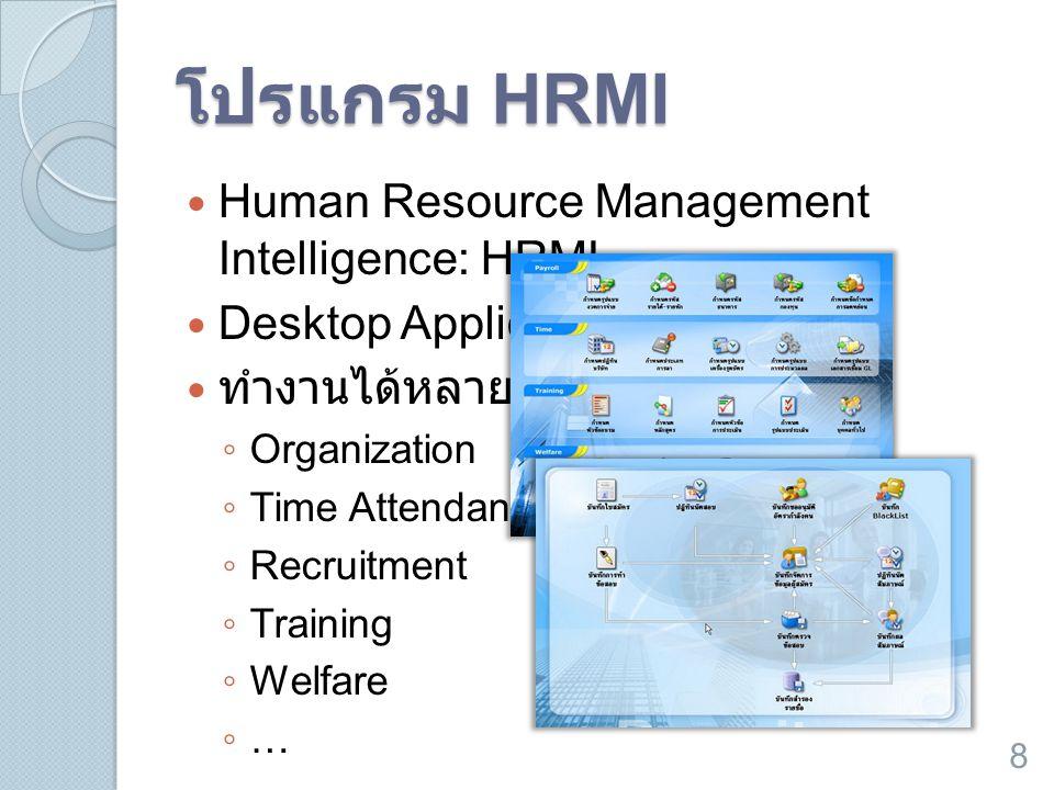 โปรแกรม HRMI  Human Resource Management Intelligence: HRMI  Desktop Application  ทำงานได้หลายหน้าที่ ◦ Organization ◦ Time Attendance ◦ Recruitment