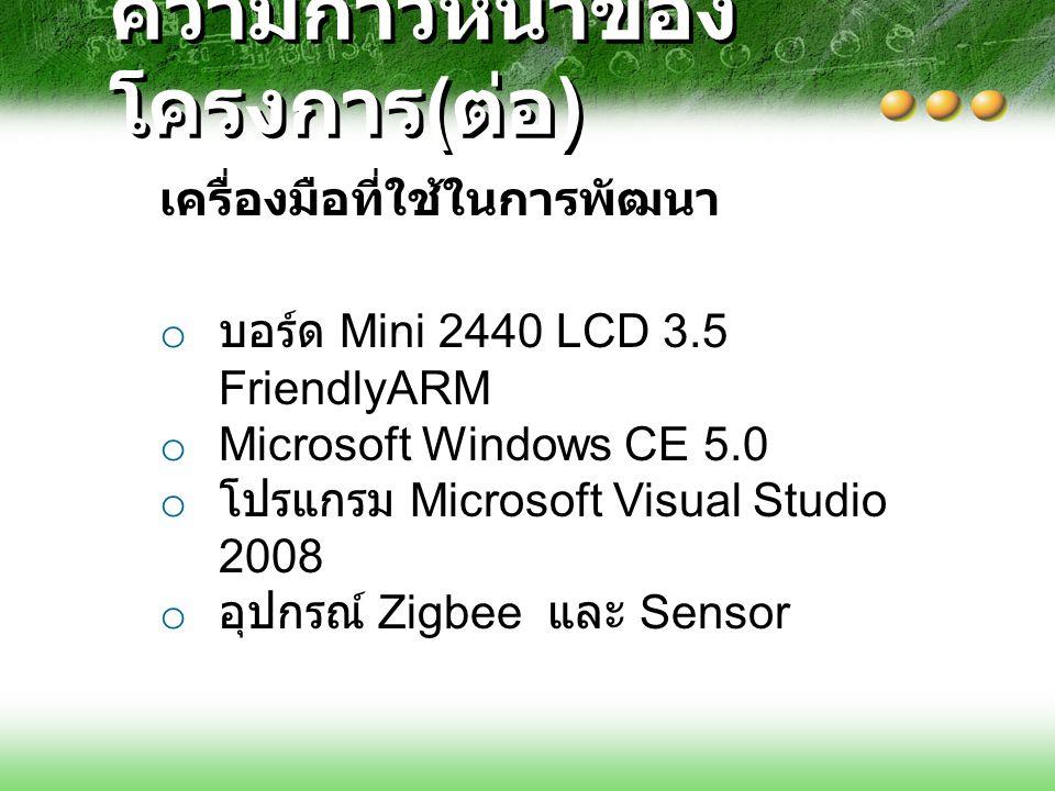 ความก้าวหน้าของ โครงการ ( ต่อ ) o บอร์ด Mini 2440 LCD 3.5 FriendlyARM o Microsoft Windows CE 5.0 o โปรแกรม Microsoft Visual Studio 2008 o อุปกรณ์ Zigb