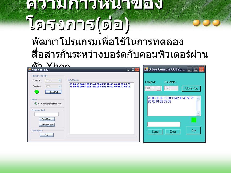 ความก้าวหน้าของ โครงการ ( ต่อ ) รูปแบบ Packet ของการส่งข้อมูล TX 64 bit 7E 00 0E 00 52 00 13 A2 00 40 53 7D 6F 04 61 62 63 4F 12356784
