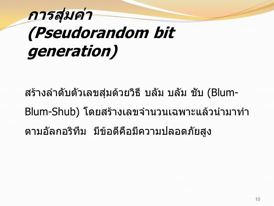 การสุ่มค่า (Pseudorandom bit generation) สร้างลำดับตัวเลขสุ่มด้วยวิธี บลัม บลัม ชับ (Blum- Blum-Shub) โดยสร้างเลขจำนวนเฉพาะแล้วนำมาทำ ตามอัลกอริทึม มี