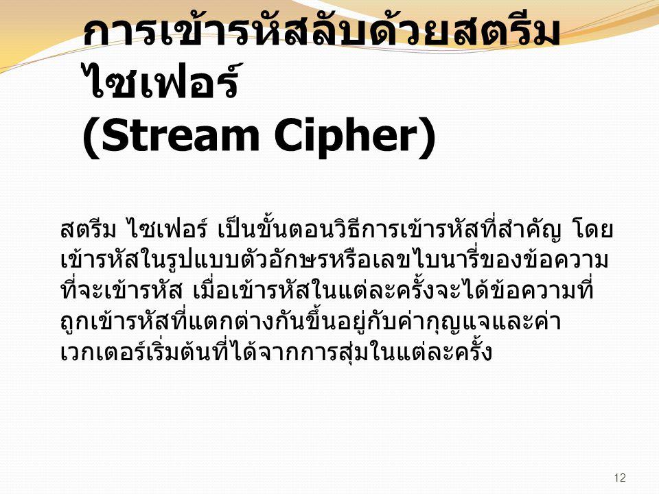 การเข้ารหัสลับด้วยสตรีม ไซเฟอร์ (Stream Cipher) สตรีม ไซเฟอร์ เป็นขั้นตอนวิธีการเข้ารหัสที่สำคัญ โดย เข้ารหัสในรูปแบบตัวอักษรหรือเลขไบนารี่ของข้อความ