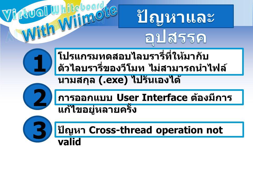 โปรแกรมทดสอบไลบรารี่ที่ให้มากับ ตัวไลบรารี่ของวีโมท ไม่สามารถนำไฟล์ นามสกุล (.exe) ไปรันเองได้ 1 การออกแบบ User Interface ต้องมีการ แก้ไขอยู่หลายครั้ง 2 ปัญหา Cross-thread operation not valid 3