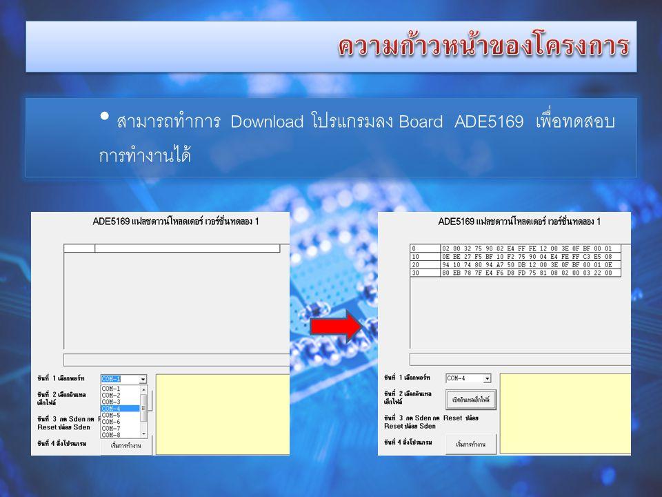 • สามารถทำการ Download โปรแกรมลง Board ADE5169 เพื่อทดสอบ การทำงานได้