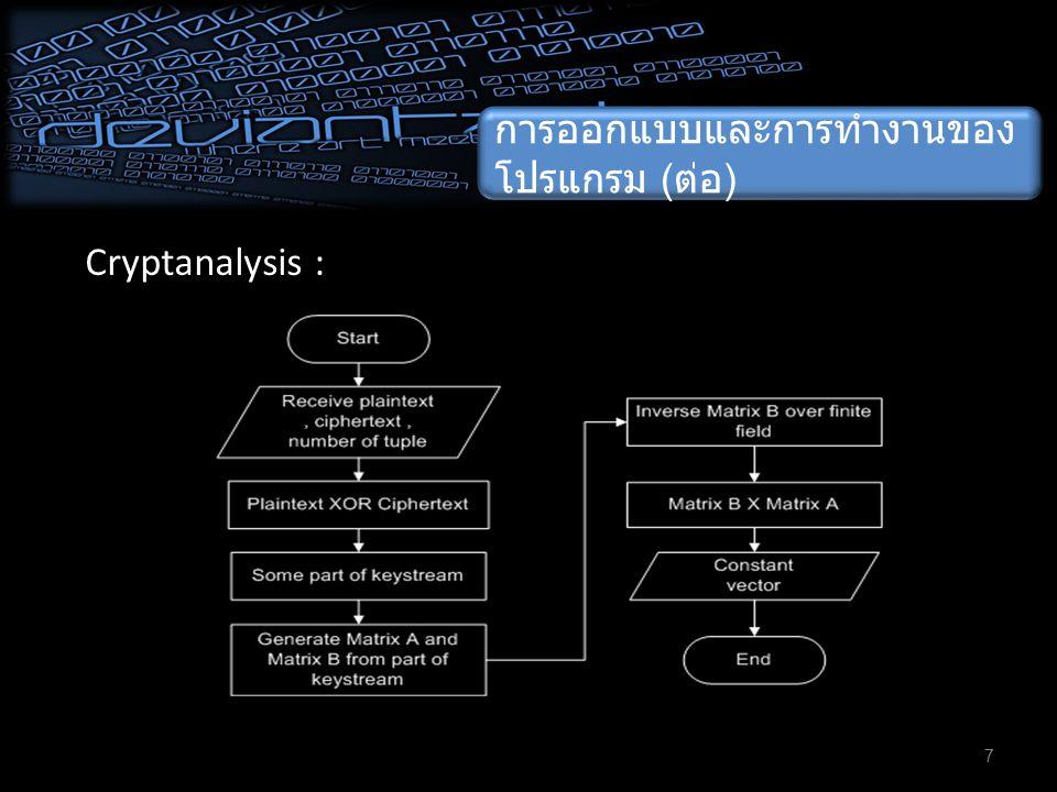 การออกแบบและการทำงานของ โปรแกรม ( ต่อ ) 8 Cryptanalysis : Matrix A