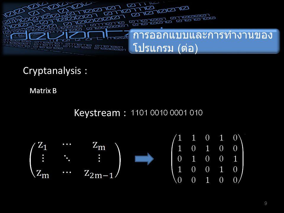 ผลจากการทำงานของ โปรแกรม 10 ผลการทำงานของโปรแกรมในการ เข้ารหัส :