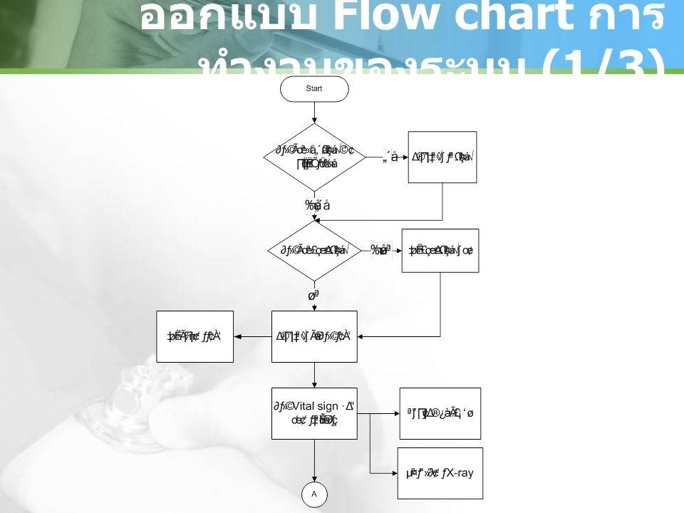 ออกแบบ Flow chart การ ทำงานของระบบ (1/3)