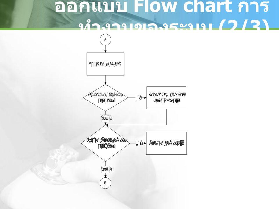 ออกแบบ Flow chart การ ทำงานของระบบ (2/3)