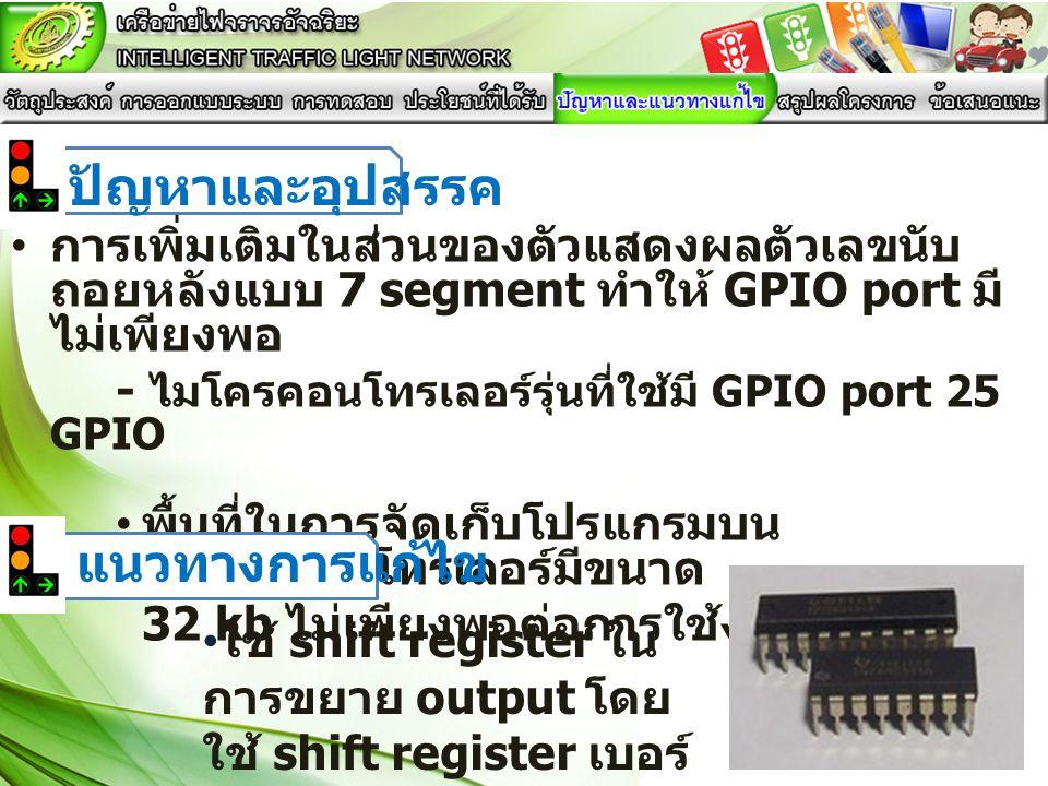 • การเพิ่มเติมในส่วนของตัวแสดงผลตัวเลขนับ ถอยหลังแบบ 7 segment ทำให้ GPIO port มี ไม่เพียงพอ - ไมโครคอนโทรเลอร์รุ่นที่ใช้มี GPIO port 25 GPIO • พื้นที