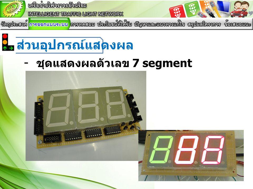 - ชุดแสดงผลตัวเลข 7 segment ส่วนอุปกรณ์แสดงผล