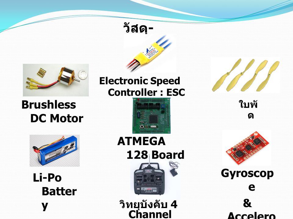 วัสดุ - อุปกร ณ์ Brushless DC Motor Electronic Speed Controller : ESC ใบพั ด Li-Po Batter y ATMEGA 128 Board Gyroscop e & Accelero meter วิทยุบังคับ 4