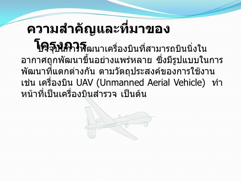 ปัจจุบันการพัฒนาเครื่องบินที่สามารถบินนิ่งใน อากาศถูกพัฒนาขึ้นอย่างแพร่หลาย ซึ่งมีรูปแบบในการ พัฒนาที่แตกต่างกัน ตามวัตถุประสงค์ของการใช้งาน เช่น เครื